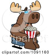 Clipart Moose Eating Popcorn And Watching A 3d Movie At The Theater Royalty Free Vector Illustration