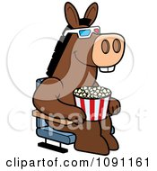 Clipart Donkey Eating Popcorn And Watching A 3d Movie At The Theater Royalty Free Vector Illustration by Cory Thoman