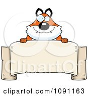 Clipart Chubby Fox Over A Banner Royalty Free Vector Illustration