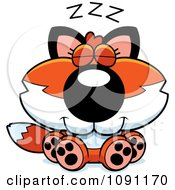 Clipart Cute Napping Fox Royalty Free Vector Illustration