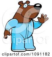 Clipart Waving Bear In Footie Pajamas Royalty Free Vector Illustration