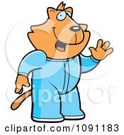 Clipart Waving Cat In Footie Pajamas Royalty Free Vector Illustration