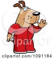 Clipart Waving Dog In Footie Pajamas Royalty Free Vector Illustration