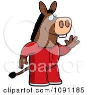 Clipart Waving Donkey In Footie Pajamas Royalty Free Vector Illustration by Cory Thoman