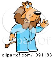 Clipart Waving Lion In Footie Pajamas Royalty Free Vector Illustration