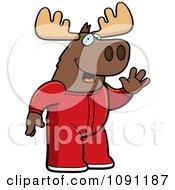 Clipart Waving Moose In Footie Pajamas Royalty Free Vector Illustration