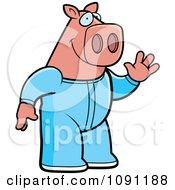 Clipart Waving Pig In Footie Pajamas Royalty Free Vector Illustration