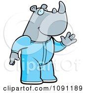 Clipart Waving Rhino In Footie Pajamas Royalty Free Vector Illustration