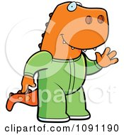 Clipart Waving T Rex In Footie Pajamas Royalty Free Vector Illustration by Cory Thoman