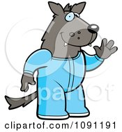 Clipart Waving Wolf In Footie Pajamas Royalty Free Vector Illustration