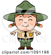 Clipart Happy Forest Ranger Girl Royalty Free Vector Illustration by Cory Thoman