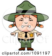 Clipart Mad Forest Ranger Girl Royalty Free Vector Illustration by Cory Thoman