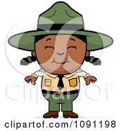 Clipart Happy Black Forest Ranger Girl Royalty Free Vector Illustration