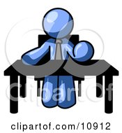 Blue Businessman Seated At A Desk Instructing Employees Clipart Illustration by Leo Blanchette