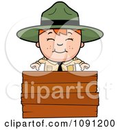 Clipart Happy Forest Ranger Boy Over A Wood Sign Royalty Free Vector Illustration by Cory Thoman