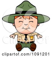 Clipart Happy Forest Ranger Boy Sitting Royalty Free Vector Illustration by Cory Thoman