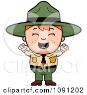 Clipart Happy Forest Ranger Boy Cheering Royalty Free Vector Illustration