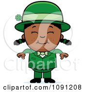 Clipart Happy Black Child Leprechaun Girl Royalty Free Vector Illustration