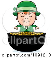 Clipart Child Leprechaun Boy And Pot Of Gold Royalty Free Vector Illustration