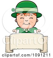 Clipart Happy Child Leprechaun Boy Over A Banner Royalty Free Vector Illustration by Cory Thoman