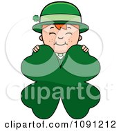 Clipart Child Leprechaun Boy Behind A Four Leaf Clover Royalty Free Vector Illustration