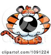 Clipart Cute Depressed Tiger Royalty Free Vector Illustration