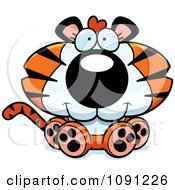Clipart Cute Sitting Tiger Royalty Free Vector Illustration