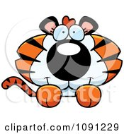Clipart Cute Tiger Over A Surface Royalty Free Vector Illustration