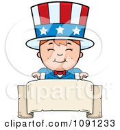 Clipart Happy Uncle Sam Boy Over A Blank Banner Royalty Free Vector Illustration