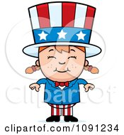 Clipart Happy Uncle Sam Girl Royalty Free Vector Illustration