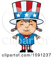 Clipart Happy Asian Uncle Sam Girl Royalty Free Vector Illustration