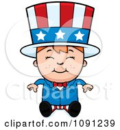 Clipart Happy Uncle Sam Boy Sitting Royalty Free Vector Illustration