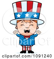 Clipart Happy Uncle Sam Boy Cheering Royalty Free Vector Illustration