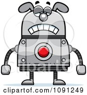Clipart Sad Dog Robot Royalty Free Vector Illustration by Cory Thoman