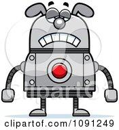 Clipart Sad Dog Robot Royalty Free Vector Illustration
