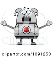Clipart Scared Dog Robot Royalty Free Vector Illustration by Cory Thoman