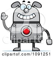 Clipart Waving Dog Robot Royalty Free Vector Illustration