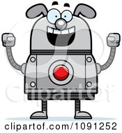 Clipart Excited Dog Robot Royalty Free Vector Illustration by Cory Thoman