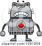 Clipart Sad Robot Cat Royalty Free Vector Illustration by Cory Thoman