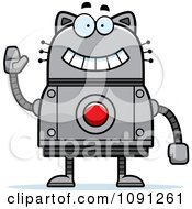 Clipart Waving Robot Cat Royalty Free Vector Illustration by Cory Thoman
