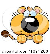 Clipart Cute Lioness Over A Surface Royalty Free Vector Illustration