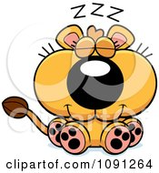 Clipart Cute Sleeping Lioness Royalty Free Vector Illustration by Cory Thoman
