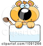 Clipart Cute Lioness Holding A Sign Royalty Free Vector Illustration by Cory Thoman