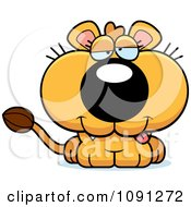 Clipart Cute Dumb Lioness Royalty Free Vector Illustration