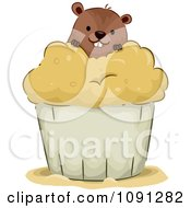 Clipart Cute Groundhog In A Cupcake Royalty Free Vector Illustration by BNP Design Studio