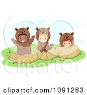 Clipart Children In Groundhog Costumes And Holes Royalty Free Vector Illustration by BNP Design Studio