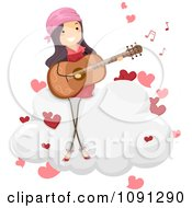 Girl Singing A Love Song And Playing A Guitar On A Cloud