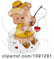 Clipart Fishing Bear Reeling In A Valentine Heart On A Cloud Royalty Free Vector Illustration
