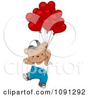 Clipart Boy Bear Floating With Valentine Balloons Royalty Free Vector Illustration
