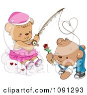 Clipart Girl Teddy Bear Reeling In A Boy With A Rose Royalty Free Vector Illustration